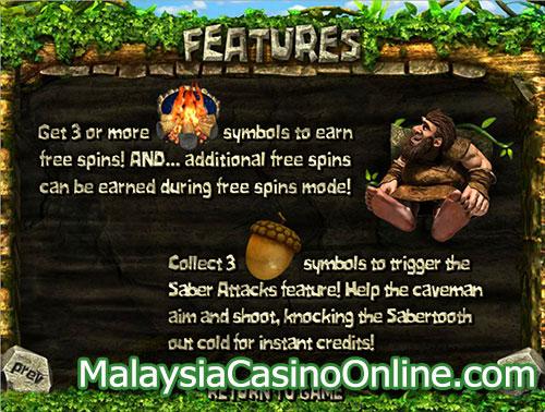 公元前200万年老虎机 (2 Million BC Slot) - Bonus Features