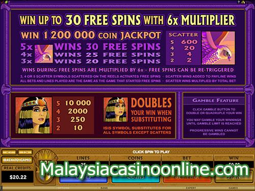 艾西斯百万钞票老虎机 (Mega Moolah Isis Slot) Free Spins Bonus